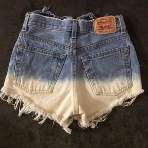 Levi's Shorts - Levi's hand distressed dip dyed shorts
